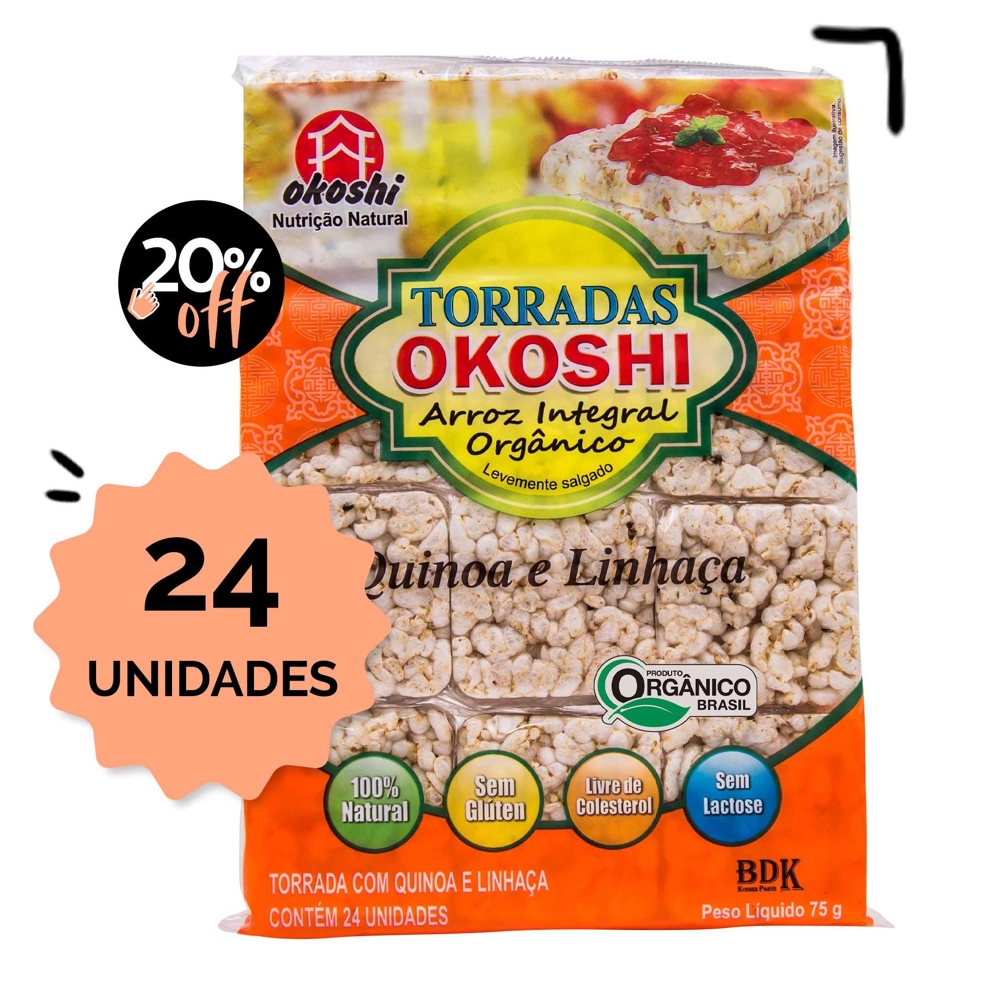 SUPER PACK 24 unidades - Torrada de Arroz Orgânico - Quinoa com Linhaça