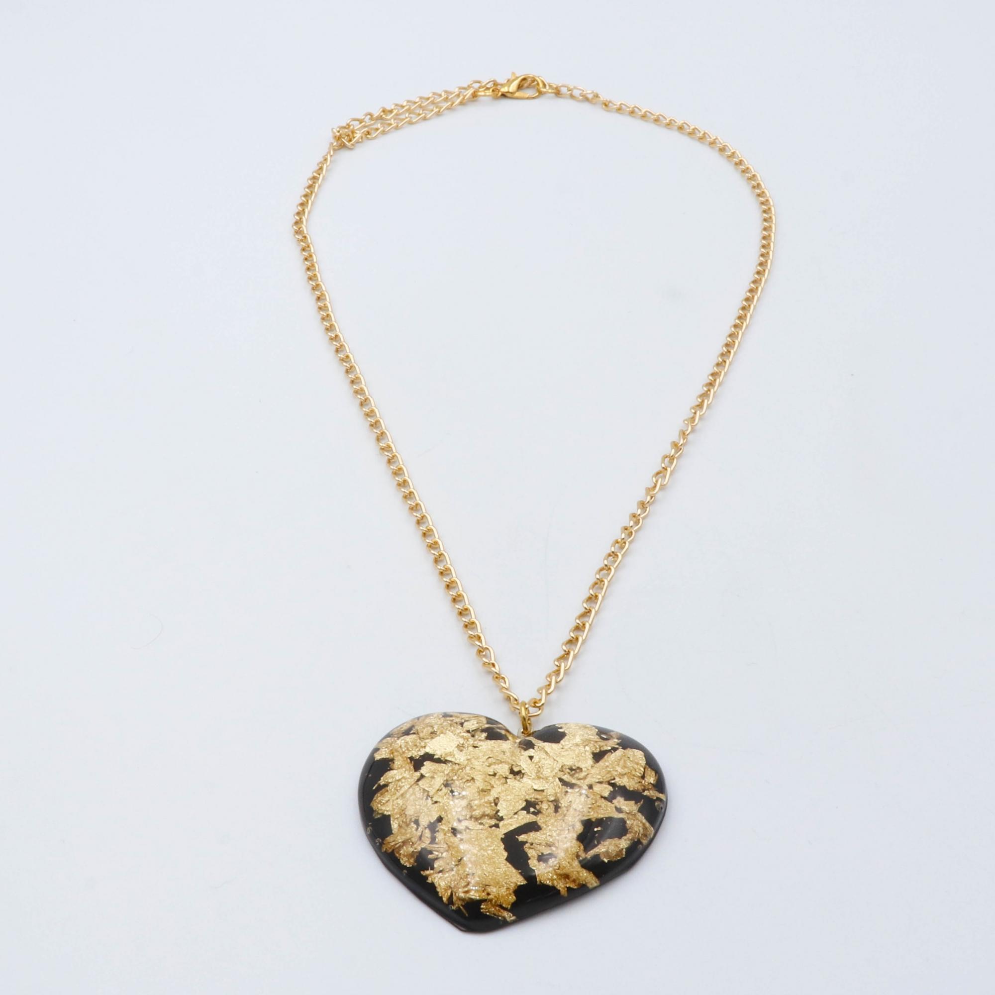 COLAR GOLDEN HEART - PRETO