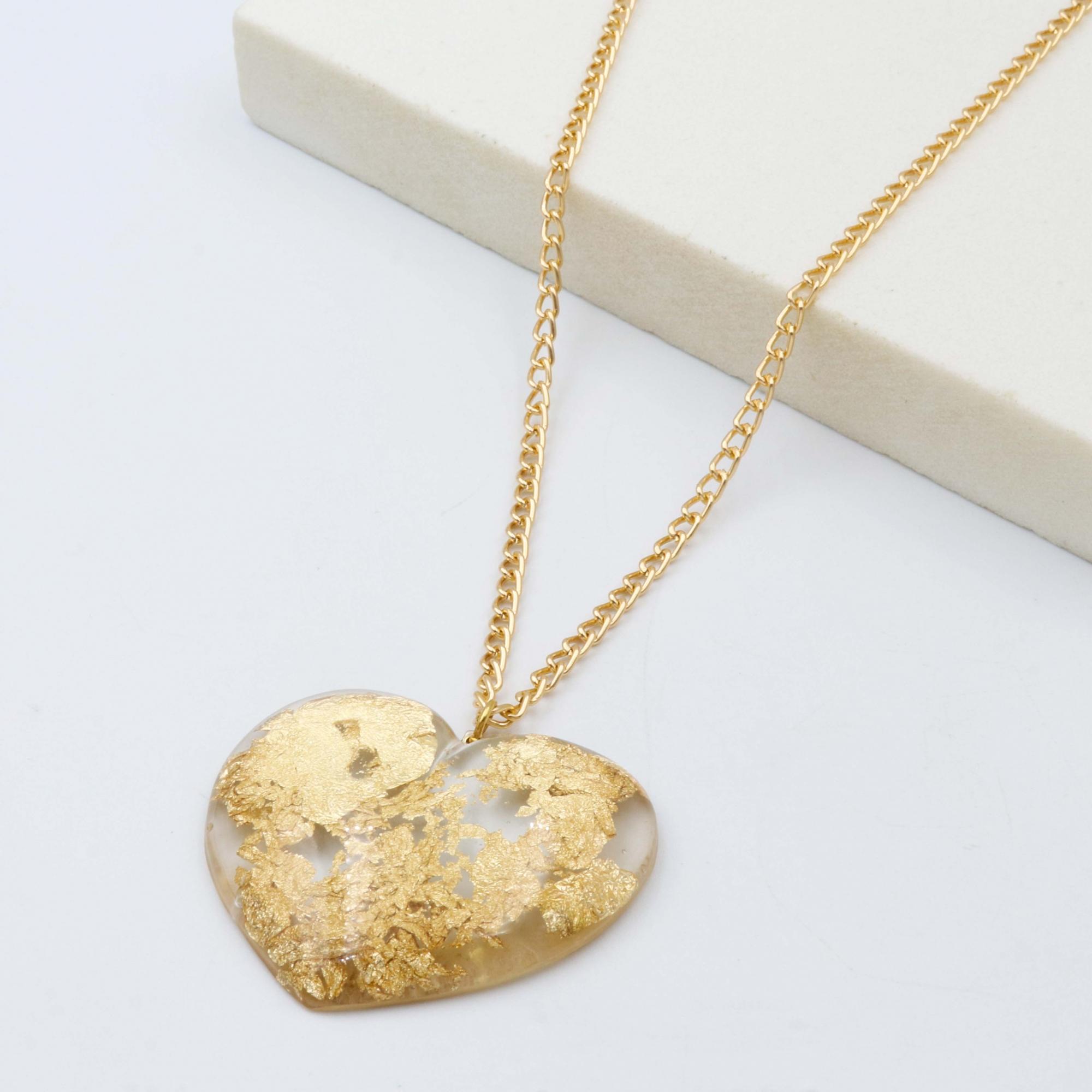 COLAR GOLDEN HEART - TRANSPARENTE