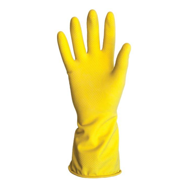 Luva latex amarela multiuso com forro antiderrapante Kalipso
