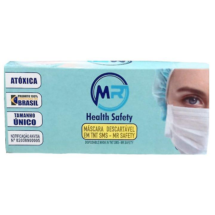 Máscara tripla com elástico MR SAFETY Branca Cx com 50 unidades