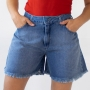 Bermuda Evase Jeans Feminino Alta Barra Desfiada Anticorpus