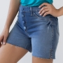 Bermuda Feminina Jeans Alta Barra Fenda Anticorpus