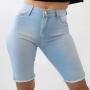 Bermuda Jeans Délavé Ciclista Feminina Alta Strech Anticorpus