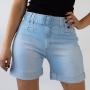 Bermuda Mom Jeans Délavé Feminina Dobrada Cinto Anticorpus