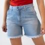 Bermuda Mom Jeans Feminino Alta Barra Desfiada Anticorpus