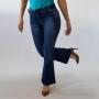 Calça Flare Petit Feminina Jeans Escuro Com Cinto Anticorpus
