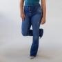 Calça Jeans Feminina Flare Alta Cinto Botões Anticorpus