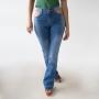 Calça Jeans Flare Alta Feminina Bolso Vazado Anticorpus