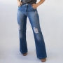 Calça Pantalona Jeans Destroyed Feminina Wide Leg Alta Anticorpus