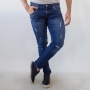 Calça Skinny Jeans Escuro Masculina Puídos Anticorpus