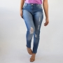 Calça Skinny Jeans Puídos Feminina Cintura Alta Anticorpus