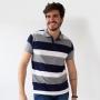 Camisa Polo Listrada Masculina Strech Manga Punho Anticorpus