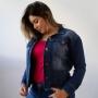 Jaqueta Feminina Jeans Escuro Barra Desfiada Anticorpus