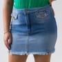 Saia Feminina Jeans Barra Desfiada Alta Algodão Anticorpus