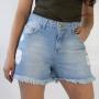 Short Jeans Alto Destroyed Barra Desfiada Feminino Anticorpus