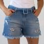 Short Jeans Destroyed Cintura Alta Feminino Cinto Anticorpus