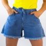 Short Mom Alto Jeans Feminino Barra Desfiada Anticorpus