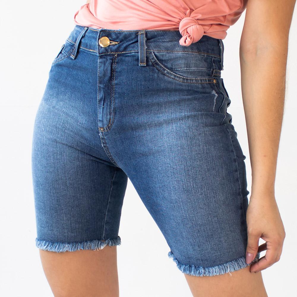 Bermuda Feminina Jeans Alta Barra Desfiada Puídos Anticorpus