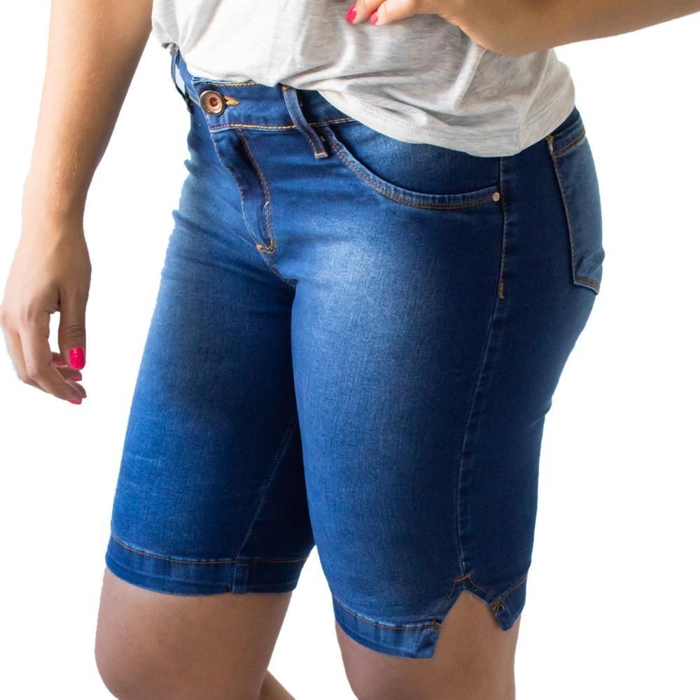 Bermuda Feminina Jeans Ciclista Cintura Média Anticorpus