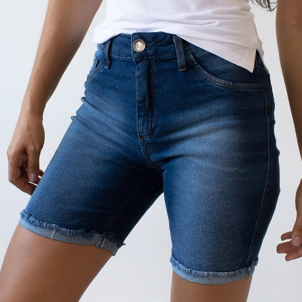 Bermuda Feminina Jeans Cintura Alta Barra Dobrada Anticorpus