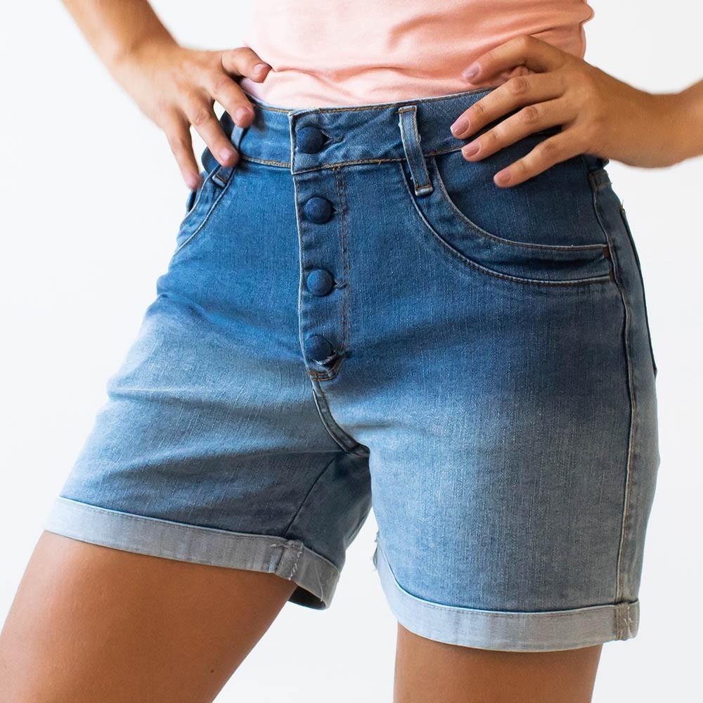 Bermuda Feminina Jeans Dégradé Alta Barra Dobrada Anticorpus