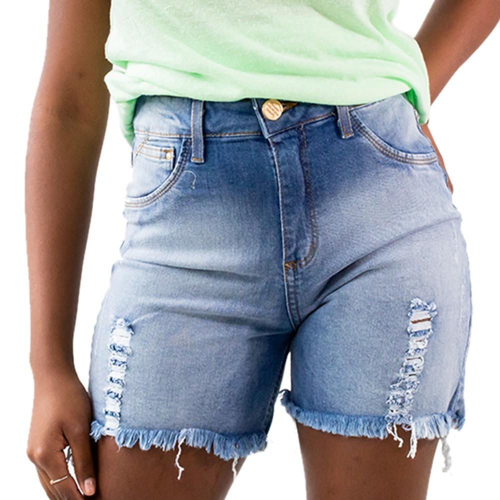 Bermuda Jeans Alta Feminina Destroyed Barra Desfiada Anticorpus