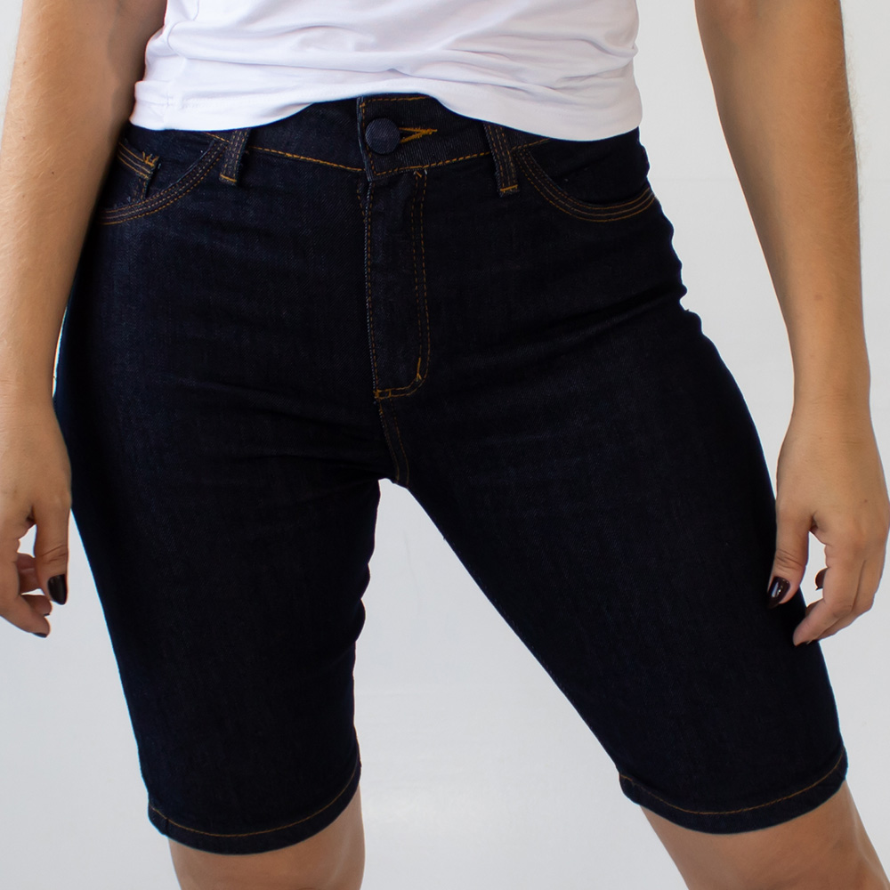 Bermuda Jeans Escuro Ciclista Feminina Alta Strech Anticorpus