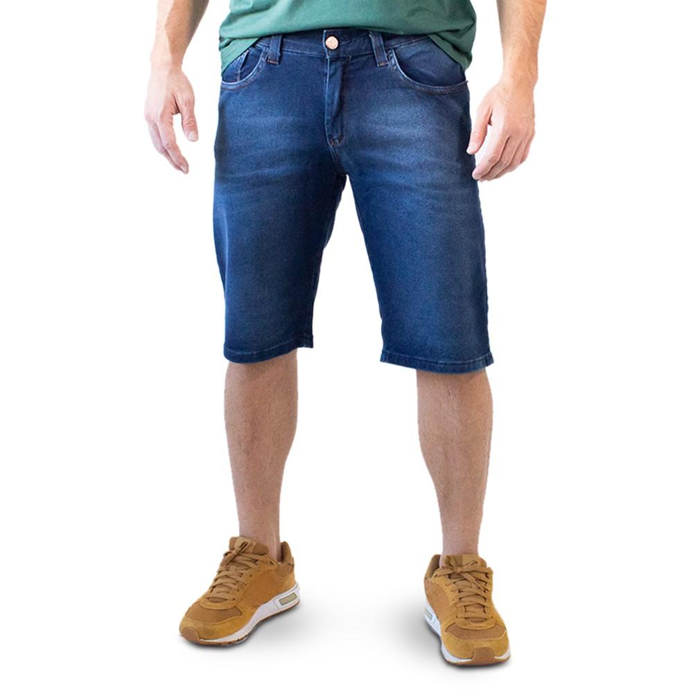 Bermuda Jeans Escuro Masculina Slim Forro Anticorpus