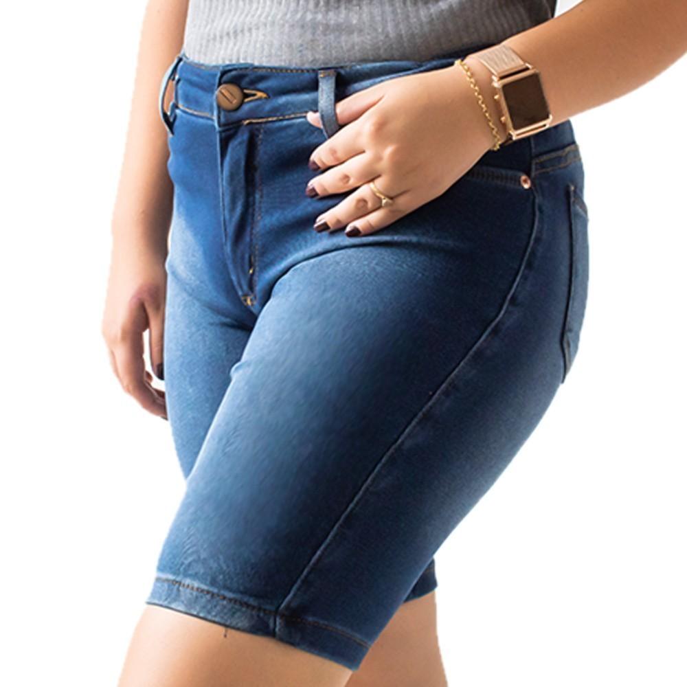 Bermuda Jeans Feminina Cintura Alta Anticorpus