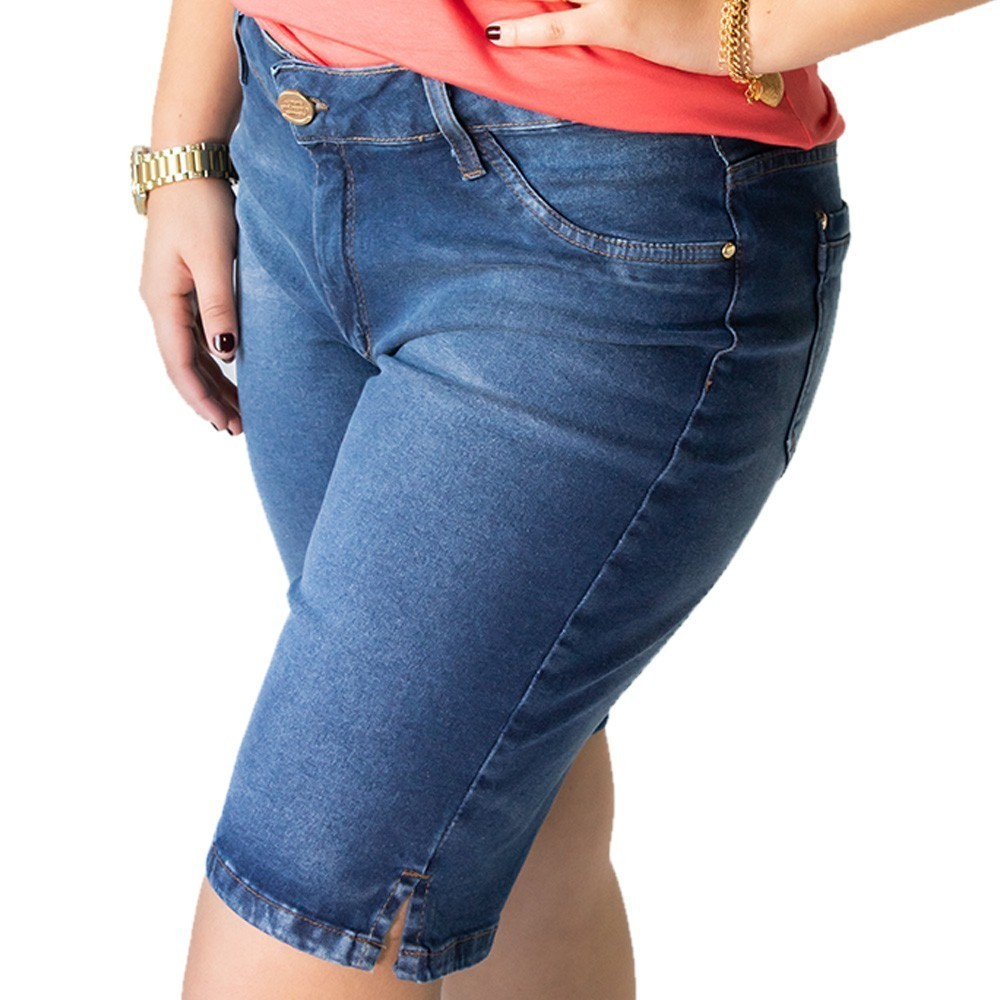 Bermuda Jeans Feminina Plus Size Elastano Anticorpus