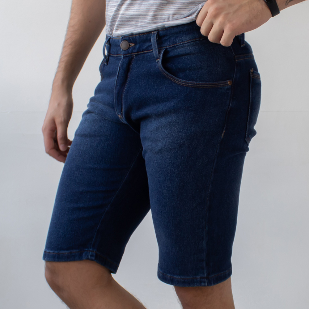Bermuda Jeans Masculina Slim Jeans Escuro Algodão Anticorpus