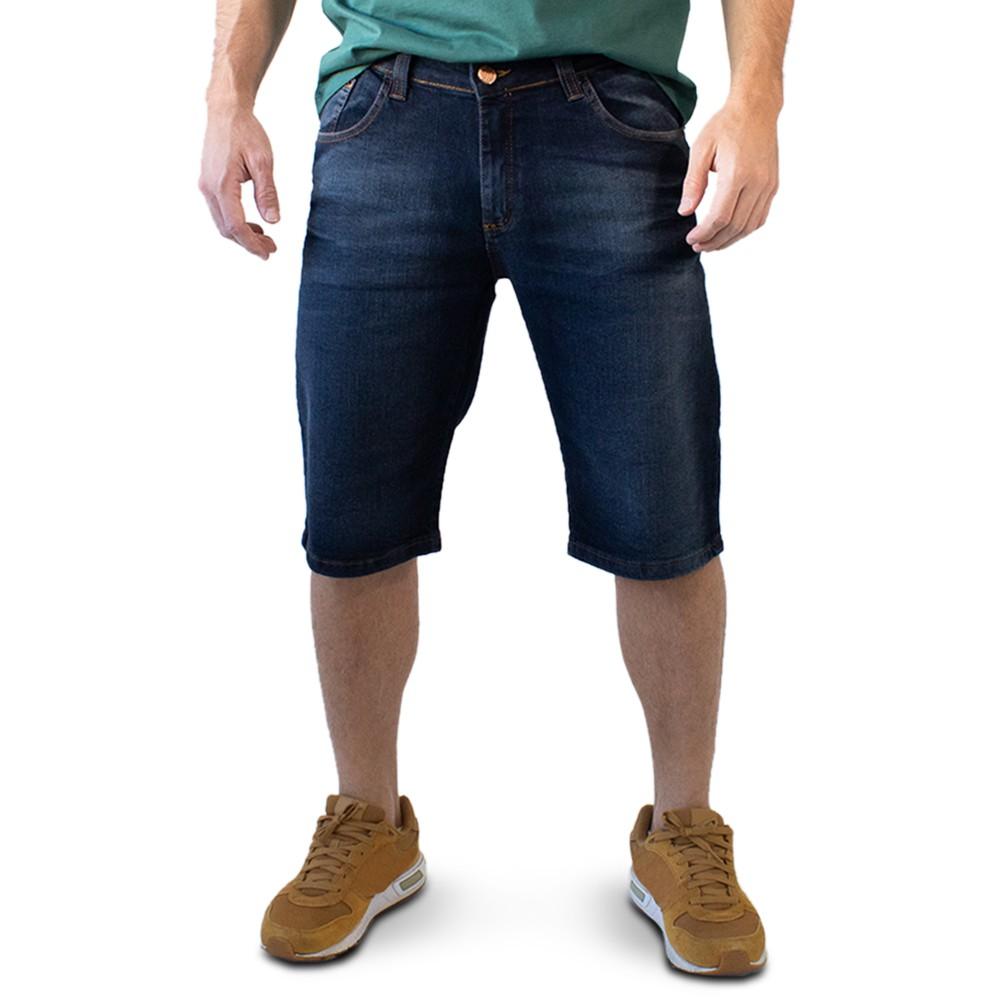 Bermuda Masculina Slim Jeans Escuro Elastano Forro Anticorpus