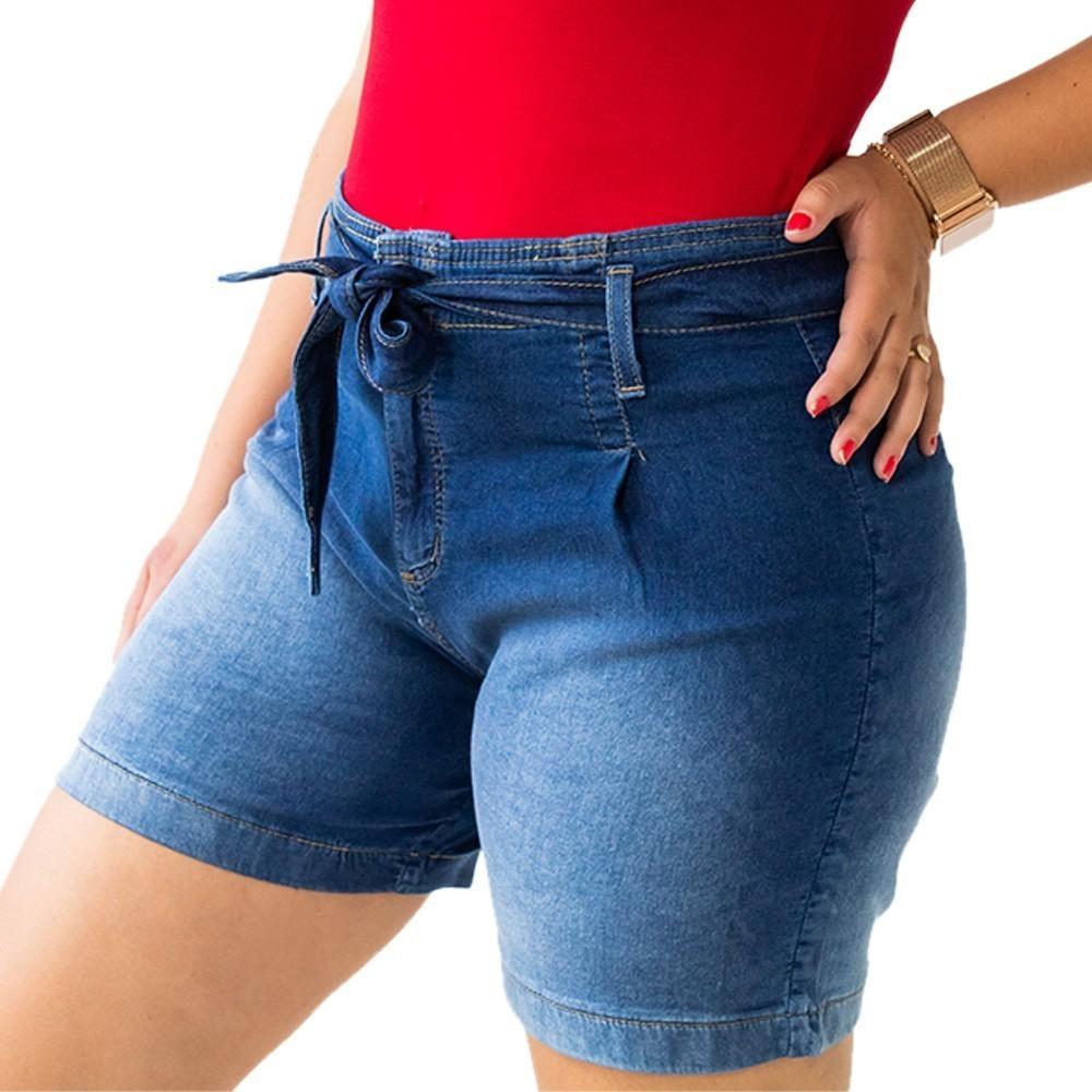 Bermuda Mom Jeans Alta Feminino Cinto Cintura Media Anticorpus