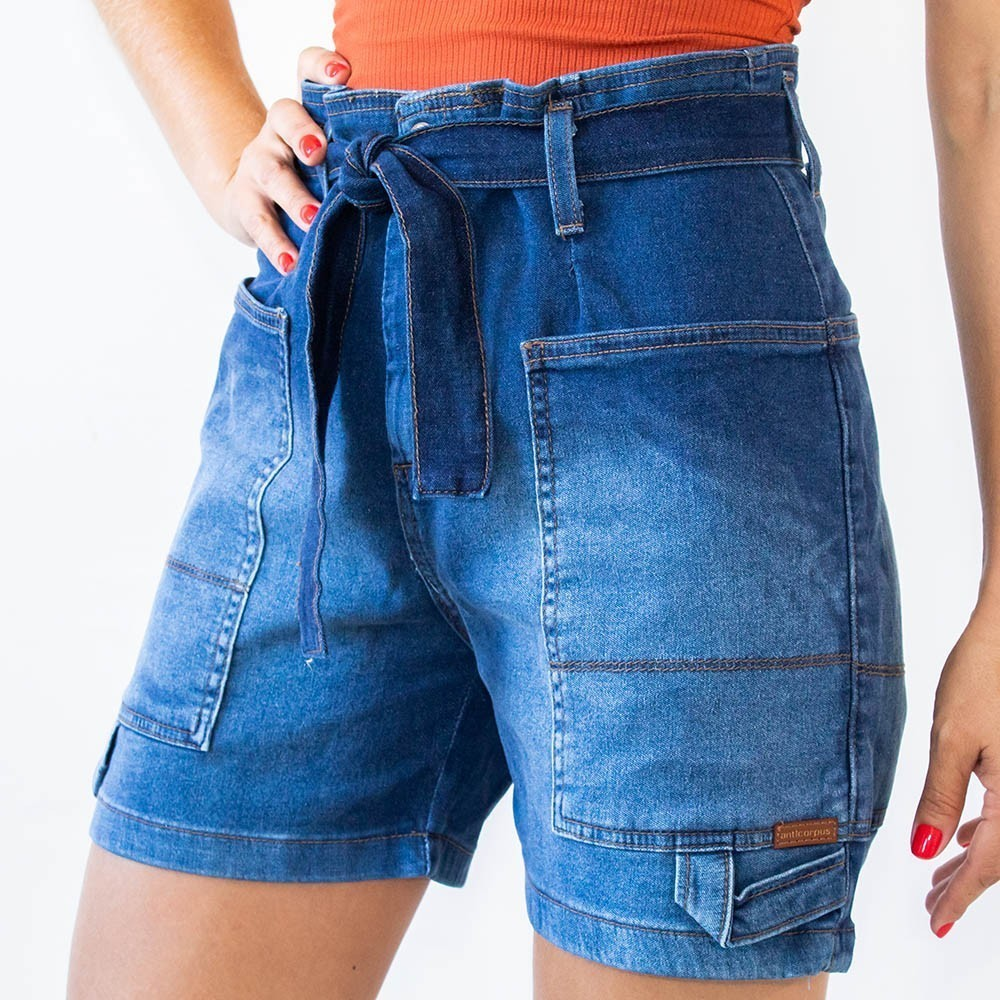 Bermuda Mom Jeans Feminino Cintura Alta Bolsos Cinto Anticorpus