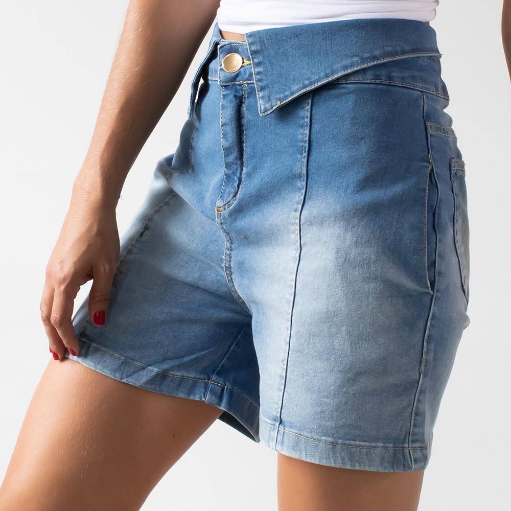 Bermuda Mom Jeans Feminino Cós Dobrado Anticorpus