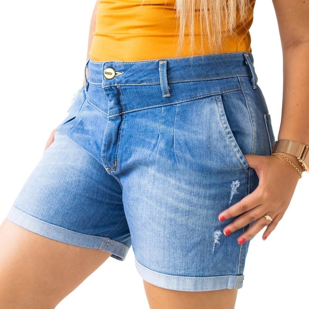 Bermuda Mom Jeans Feminino Puídos Cintura Media Anticorpus