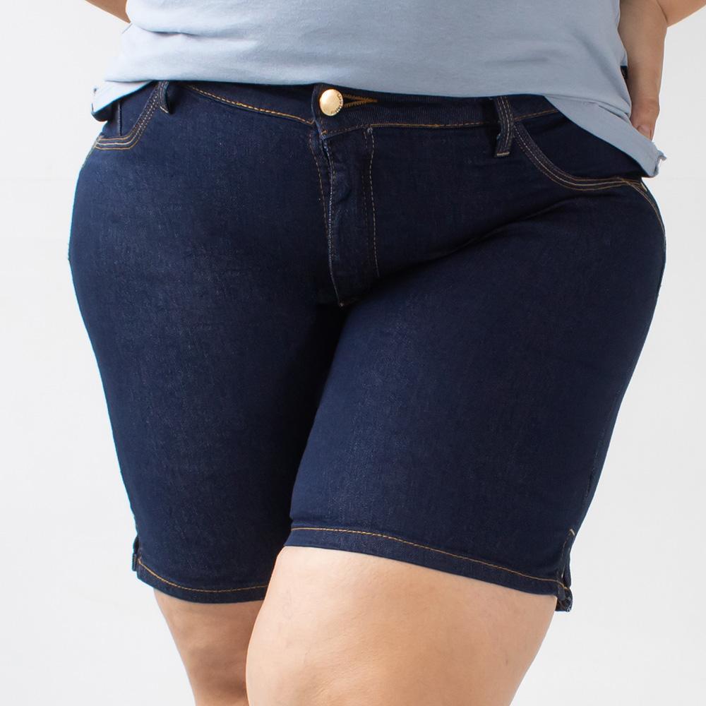 Bermuda Plus Size Jeans Stretch Escura Feminina Alta Anticorpus