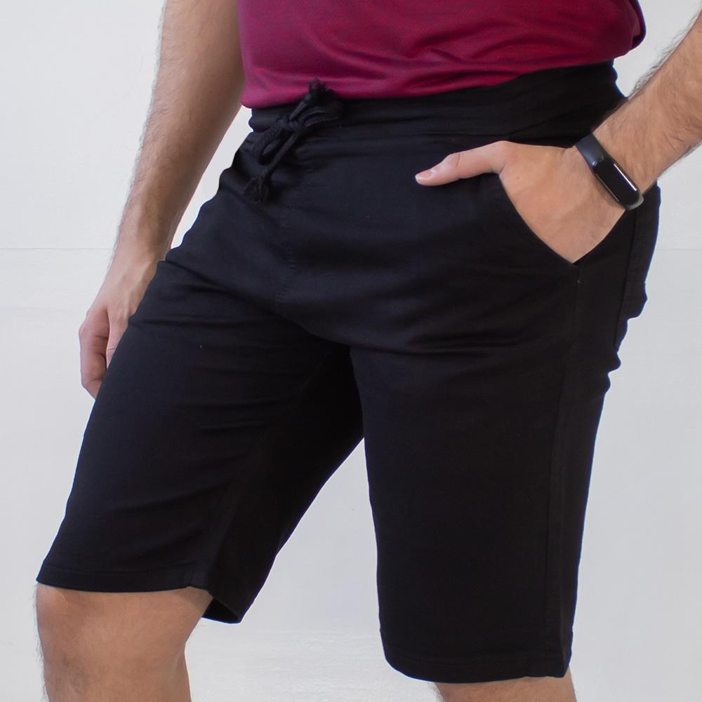 Bermuda Sarja Jogger Masculina Preta Strech Anticorpus