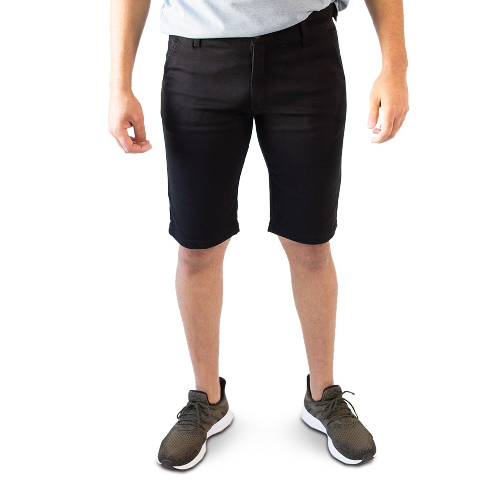 Bermuda Sarja Preto Masculina Slim Elastano Forro Anticorpus