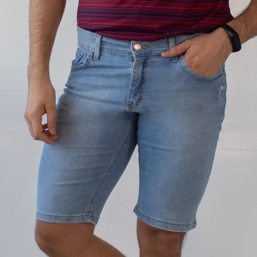 Bermuda Skinny Jeans Claro Masculina Puídos Anticorpus