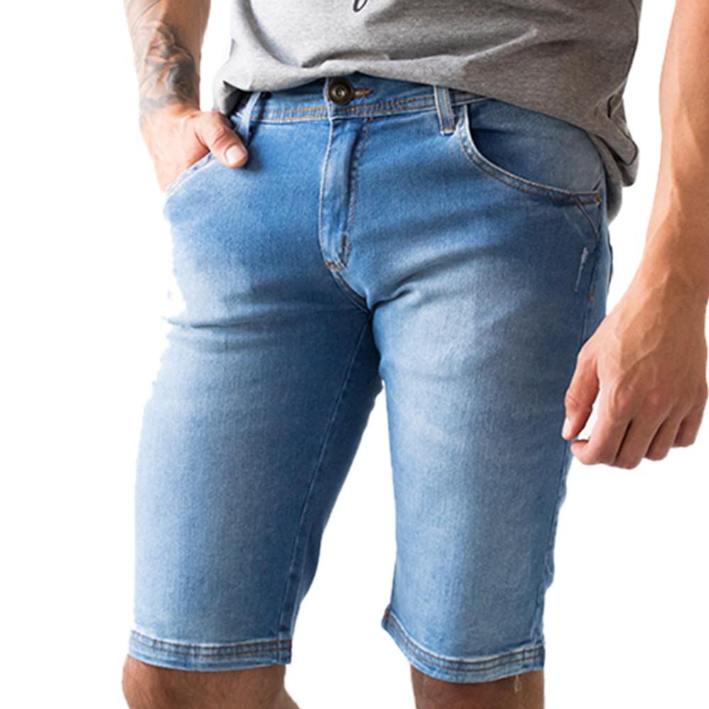 Bermuda Skinny Jeans Masculina Azul Claro Anticorpus