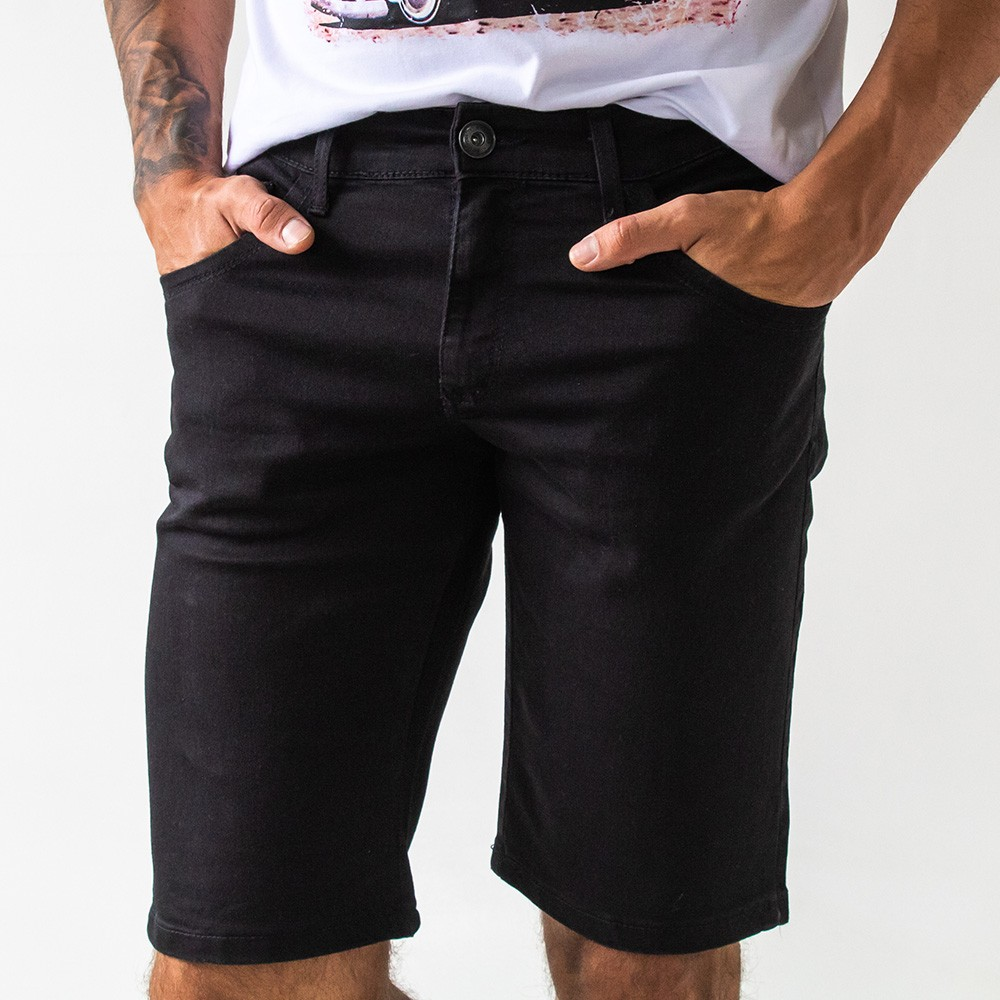 Bermuda Skinny Jeans Preta Soft Touch Masculina Anticorpus