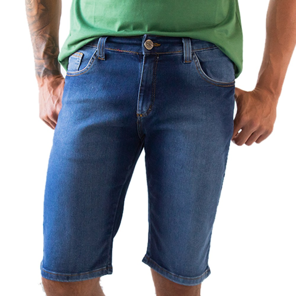 Bermuda Slim Jeans Escuro Masculina Stretch Anticorpus
