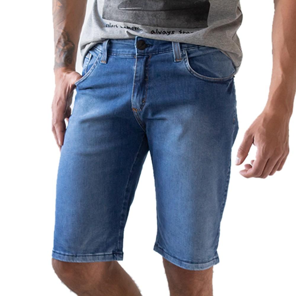 Bermuda Slim Jeans Masculina Básica Algodão e Elastano Anticorpus