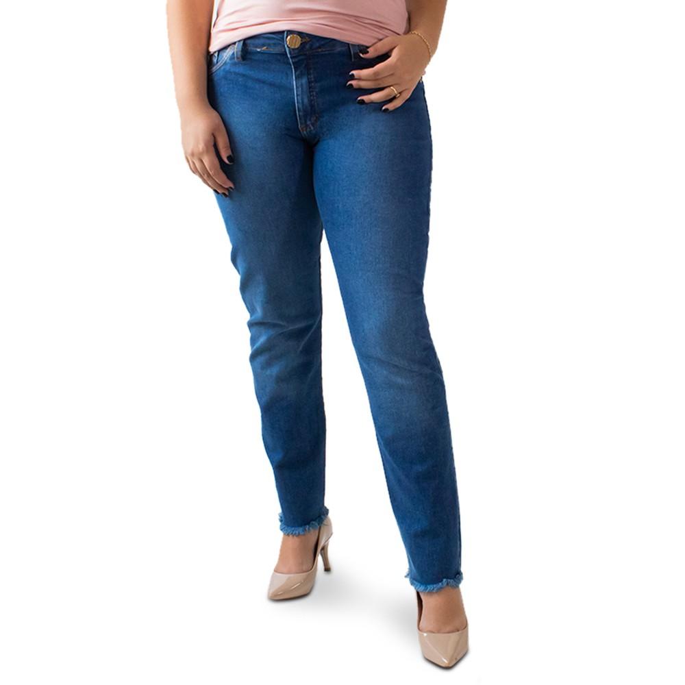 Calça Cigarrete Plus Size Jeans Feminina Barra Desfiada Anticorpus