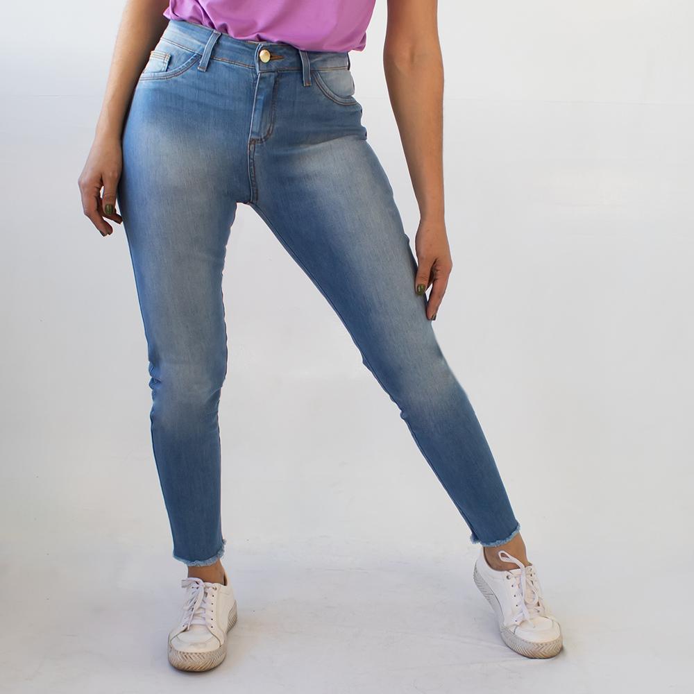 Calça Cropped Alta Jeans Feminina Barra Desfiada Anticorpus