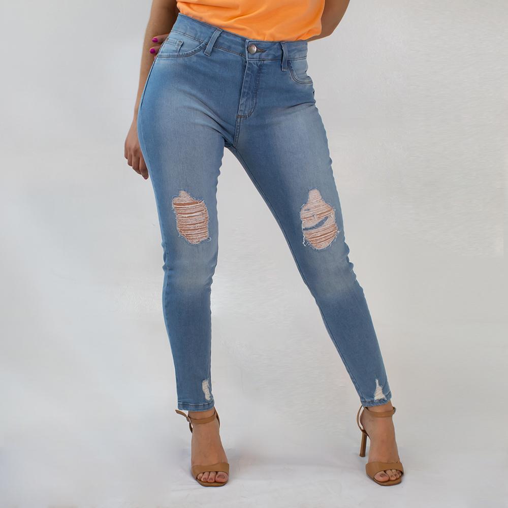 Calça Cropped Jeans Feminina Alta Clara Destroyed Anticorpus