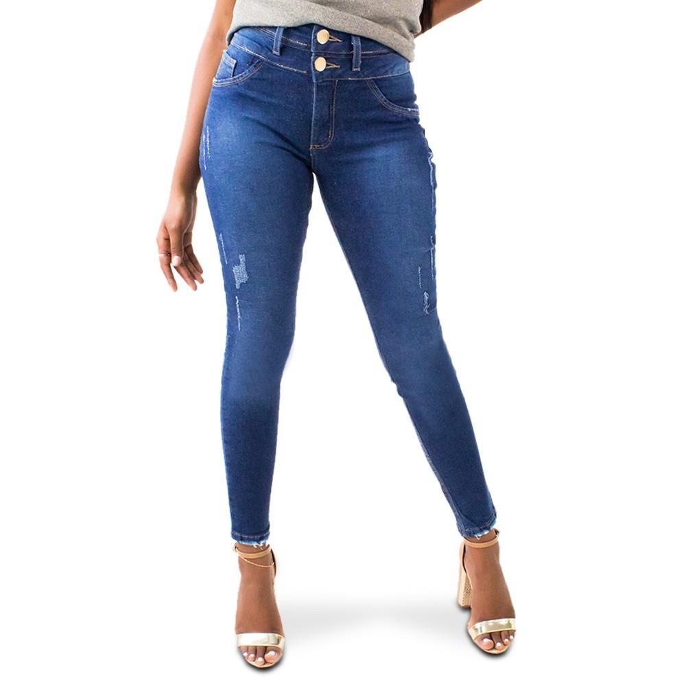 Calça Cropped Jeans Feminina Cintura Alta Puídos Anticorpus