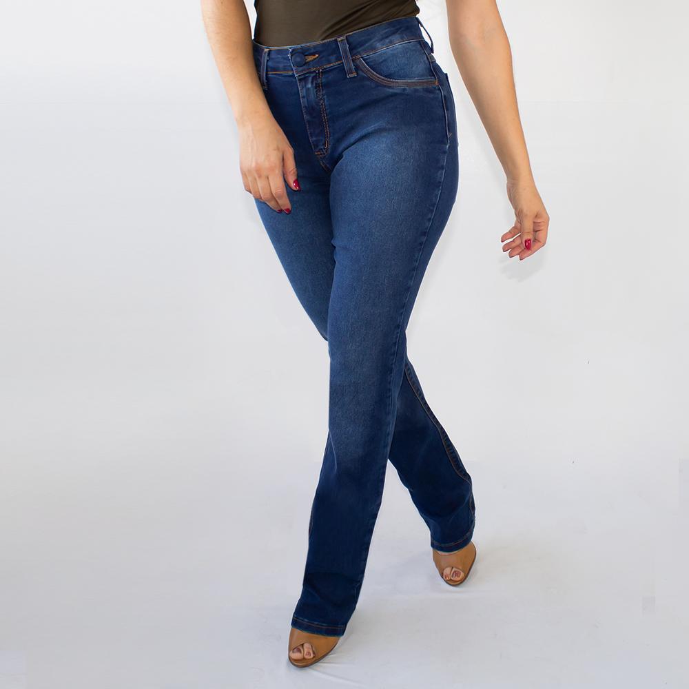 Calça Boot Cut Jeans Stretch Escuro Feminina Alta Anticorpus